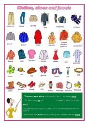 Clothes, shoes, jewels elementary (editable)