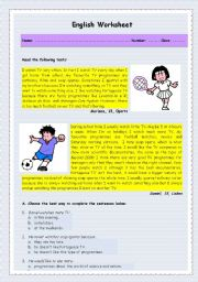 English Worksheets: Reading about TV