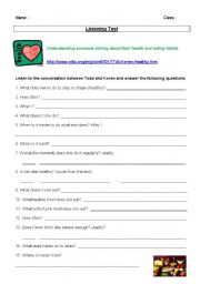 English Worksheet: LISTENING TEST: STAYING HEALTHY (health and eating habits)