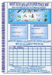 English Worksheets: WHAT HAVE YOU GOT IN YOUR PENCIL BOX?-HAVE/HAS GOT