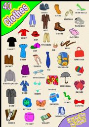 English Worksheet: CLOTHES PICTIONARY 40 ITEMS WOW