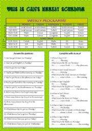 English Worksheets: This is Can�s Schedule