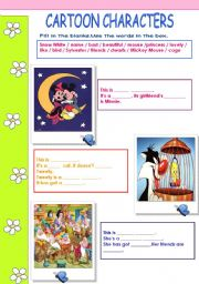 English Worksheets: Cartoon Characters