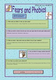 English Worksheets: Fears and Phobias
