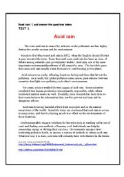 English Worksheet: Environmental problems. (Acid rain). Reading comprehension. Theme: The world around us.