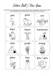 English Worksheets: Colors Cards and Ball Dice Game (by blunderbuster)
