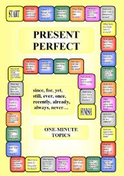 English Worksheet: Boardgame - Present Perfect + since, for, ever, already, still, yet... (editable)