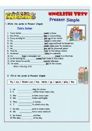 English Worksheet: Present Simple/English test/ 3 pages
