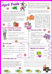English Worksheet: April Fools