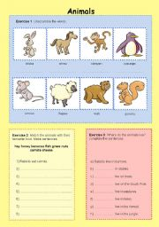English Worksheets: Animals / what they eat / where they live
