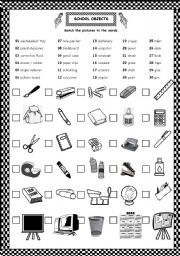 English Worksheet: CLSSROOM & SCHOOL OBJECTS
