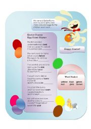 English Worksheet: Easter Egg Colour Rhyme