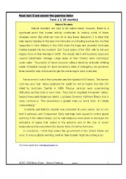 English Worksheets: A complete Reading comprehension test (two reading comprehension texts about the environment) ADEC STANDARDS m Critera included.