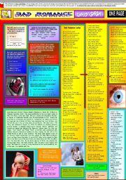 English Worksheets: BAD ROMANCE - LADY GAGA - ONE PAGE