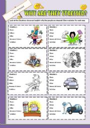 English Worksheets: Speaking cards: Why are they stressed?