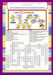 English Worksheet: THE SIMPSONS FAMILY TREE / CROSSWORDS-  21 SENTENCES with ANSWER KEY