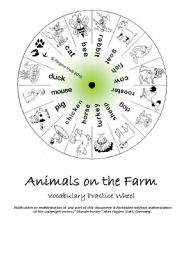 English Worksheets: Animals on the Farm Vocabulary Wheel (editable) (by blunderbuster)