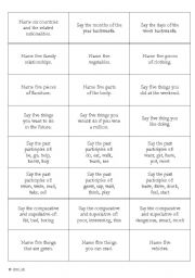 English Worksheets: Revision Cards