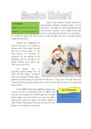 English Worksheets: Maurice Richard Reading Comprehension