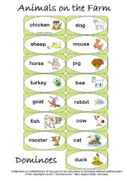 English Worksheets: Animals on the Farm Dominoes (EDITABLE) (by blunderbuster)