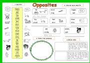 English Worksheet: OPPOSITE  ADJECTIVES  3 pages - 6 activities (for beginners) - editable