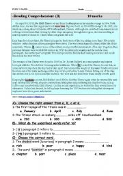 English Worksheets: Story of The Titanic. A reading comprehension test plus vocab, grammar and parallel writing.