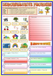 English Worksheet: Demonstrative Pronouns - (B/W & Keys)   -  Revised