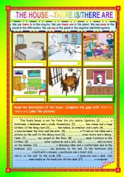 English Worksheets: THE HOUSE - THERE IS/THERE ARE