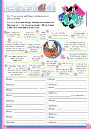 English Worksheets: Let�s eat out  -  Reading + Writing + Speaking activity for Upper elementary and Lower intermediate students