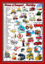English Worksheet: MEANS OF TRANSPORT - MATCHING