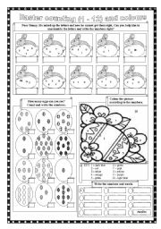 English Worksheet: Easter counting  and colours  (editable)