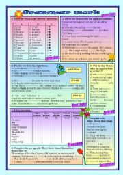 English Worksheets: (2pages) 14 grammar activities