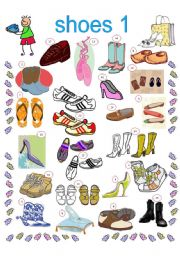 English Worksheet: SHOES 1, 2 PAGES, INCLUDED KEYS