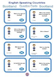 English Worksheet: English Speaking Countries - Question cards 6 - Scotland