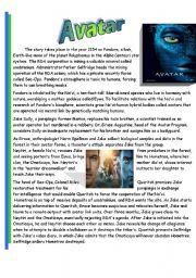 English Worksheet: Avatar - Reading activity
