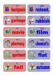 English Worksheets: British English vs American English memory game - part 1