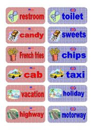 English Worksheets: British English vs American English memory game - part 2