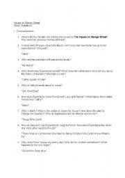English worksheets: House on Mango Street - Study Questions