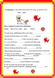 English Worksheet: SYNONYMS - ANTONYMS 2 pages with key