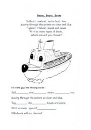 English Worksheet: Rhyme about boats