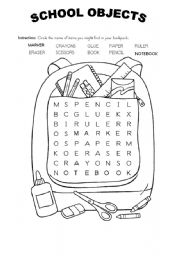 English Worksheet: SCHOOL OBJECTS WORDSOUP