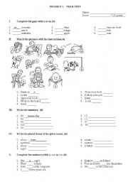 English Worksheet: Project 1 - year test