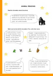 English Worksheets: Animal Description Reading and Writing