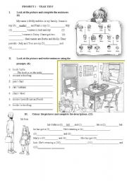 English Worksheet: Project 1 - year test part3