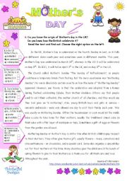 English Worksheet: Mother´s Day in the UK  -  Origin + the way it´s celebrated