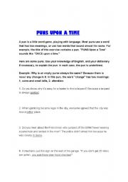 English Worksheets: Puns Upon a Time: worksheet on puns
