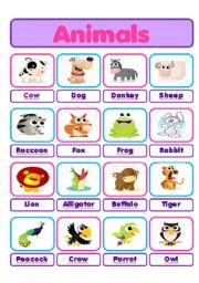 English Worksheets: Animals pictionary