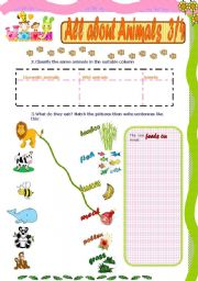 English Worksheets: All about animals 3/4