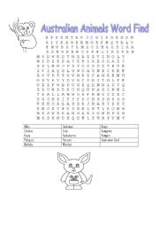 English Worksheets: Australian Animals Word Find