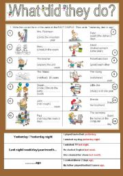Past simple of regular verbs + particles
